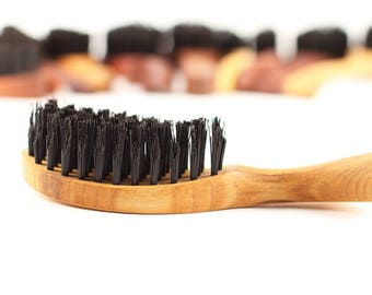 100% boar bristle paddle hair brush Organic hairbrush Pocket Strand by WildGood Handmade Personalized gift woman natural lifestyle present