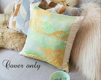 Mint Throw Pillow Cover, Green Toss Pillow Case, Metallic Throw Pillow, Kimono Cushion Cover, Hokusai Great Wave Pillow Sham, Vintage Obi UK