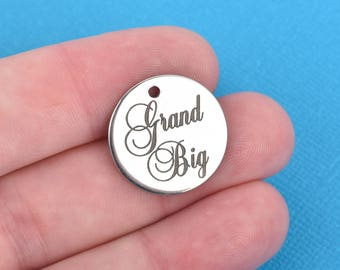 "GRAND BIG Charms, Sorority Charms, Stainless Steel Quote Charms, 20mm (3/4""), choose quantity, cls0102"