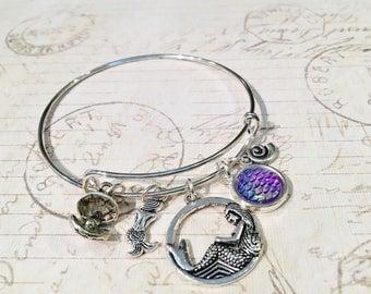 Mermaid Bangle Bracelet, Mermaid Bracelet, Mermaid Charm Bangle, Expandable Bangle, Stackable Bangle, Mermaid Gifts, Mermaid Party Favors