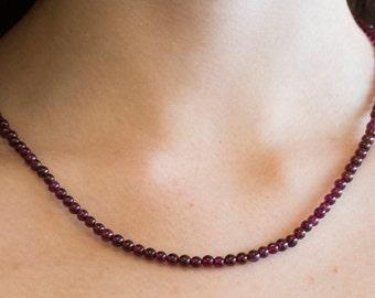 Garnet Round Beaded Necklace
