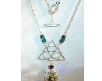 Miniature Witch Ball / Triquetra Necklace - Black Iridescent Crystal Beads