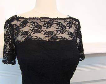 Viva Las Vegas Sale - 1950's/1960's Black Lace Wiggle Dress