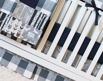 Woodlands Bedding Nursery Set, Deer Crib Bedding, Navy Blue Sheet, Gray Arrow Skirt, Plaid Baby Boy Teething Rail Guard, Patchwork Blanket