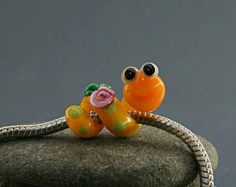 Bookworm  glass charm bead Snake lampwork big hole bead BHB bead , charm bracelet ,european bracelet , jewelry dread bead