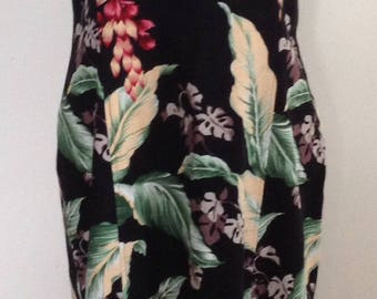 Barkcloth dress, tropical sleeveless maxi, long dress