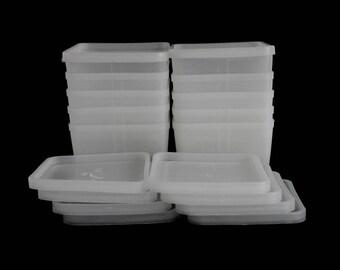 Square Plastic Freezer Containers & Lids Vintage 1970s Kitchen Pint Size White