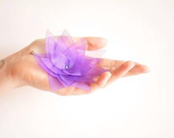 Purple organza lotus flower barrette