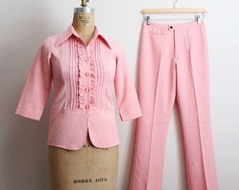 70s Pink Ruffle 2 Piece Suit / 1970s Suit / Pink Pants / High Waisted Pants 70s/ Size XXS/XS