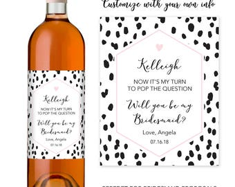 Will You Be My Bridesmaid Wine Bottle Label, Bridesmaid Proposal Bottle Label, Bridesmaid Proposal Idea, Bridesmaid Wine Bottle Label Set