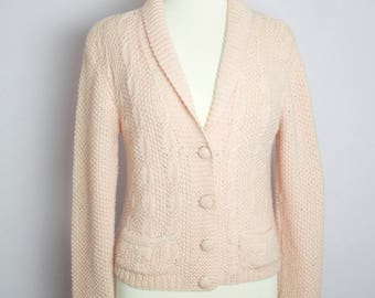 Vintage 1980's I Magnin Pink Wool Shawl Collar Cable Knit Cardigan Sweater M/L