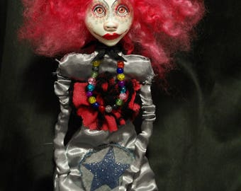 ooak art doll, pink hair