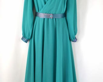 1970s Teal Sheer Poly Chiffon Dress by Ursula of Switzerland Petite