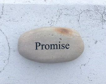 Promise Engraved Beach Pebble Stone