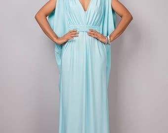 Mint dress, maxi dress, empire dress, long mint dress, sleeveless dress, tube dress, blue mint dress : Funky Elegant Collection no 40
