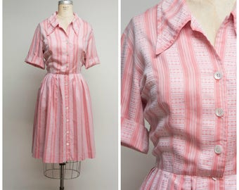 Vintage 1950s Dress • Believe in Magic • Pink Woven Striped Cotton 50s Shirtwaist Day Dress Size Large