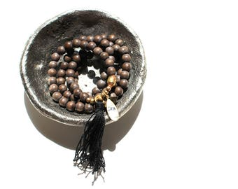 MOONSTONE third eye wooden mala necklace