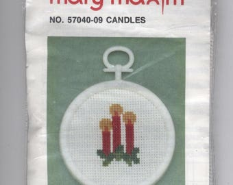 Candles Christmas Ornament Counted Cross-Stitch Kit with Frame