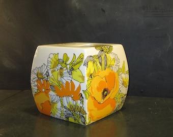 Vintage Vera Neumann Tissue Box Cover Orange Yellow Flowers