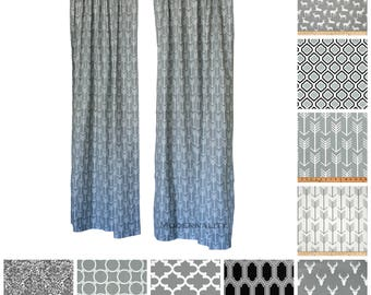 Grey Curtains- Pair of Drapery Panels- Cool Gray Curtains- Designer Window Treatments- Custom Drapes- Window Shade- Add Lining- Arrow Drapes
