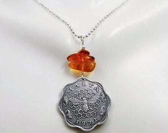 Bee Necklace. Amber necklace. 1972 Bee Coin necklace. Insect necklace. Amber jewelry. Malta. coin jewelry. honeybee necklace. Honeycomb