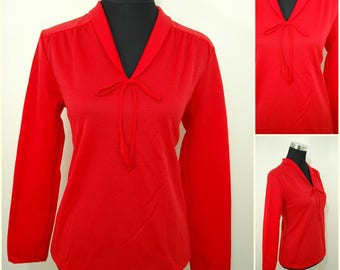 VINTAGE 1970s Funky Retro Red Open Neck Tie Bow Shirt Blouse Top UK 12 FR 40 / Bohemian / Roll Neck