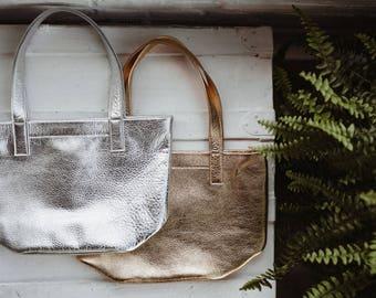 MILA Metallic Shoulder Bag. Leather Shoulder Bag. Leather Purse. Gold Leather Bag. Gold Leather Shoulder Bag. Lightweight Shoulder Bag.