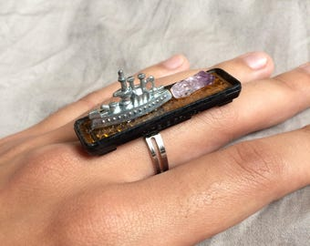 Trash to Treasure - Amethyst, Game Piece, Found Object Assemblage Art Jewelry - Adjustable Statement Ring