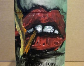 No.33, Smoking Series, Acrylic Painting on recycled Cigarette Box, Recycled Art, Contempotary Art, Upcycled Art
