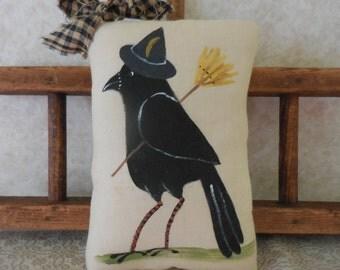 Primitive Halloween Wall Hanging Pillow Tuck Folk Art Witch Crow Broom & Hat