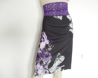 High Waist Argentine Tango & Salsa Skirt  US 2 and 4 Milonga Dance Wear amazing colorful Designer Print Tango Jupe adorable Robe
