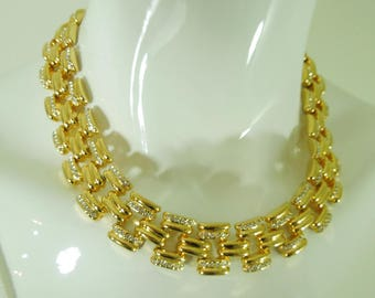 1980s St. John Track Link Runway Necklace Brilliant Rhinestones Original Tags Never Worn