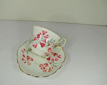 Vintage  PINK BELLS Tea Cup Spring Wood Hyacinth Flower Royal Imperial Bone China England Gold Trim Floral