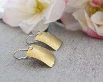 Smart Square Brass Earrings handmade in Sydney from brass metal sheet cut into squares and sterling silver earring wires : BsqDlHDvx