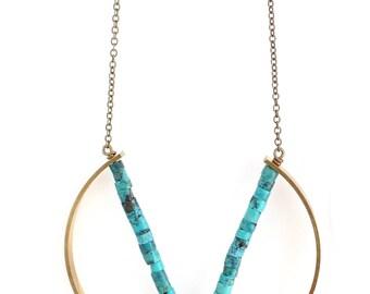 Pavo -- turquoise pendant, boho, minimalist, modern, minimal gemstone necklace for her, turq