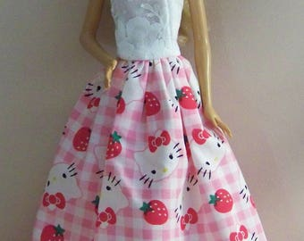 Handmade Barbie Clothes- Pink Hello Kitty Barbie Gown/Dress
