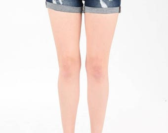 Whiskered Cuffed Denim Shorts