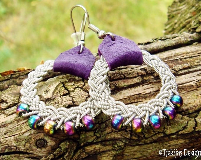 Sami Earrings RIMFAXE Viking Dangle Hoop Earrings with Pewter Braid, Rainbow Hematite Beads and Purple Leather