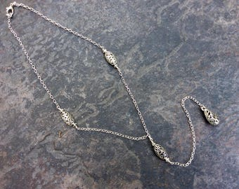 "Extra Long Filigree Y necklace with Filigree Teardrop Pendant  19"" with 7"" pendant drop"