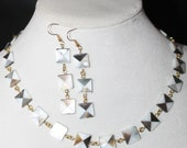 Art Deco Mother Of Pearl Squares Necklace and Earrings