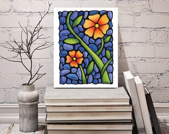 Pansy Art Print - FREE Shipping - Orange Pansy Print - Floral Print - Wall Hanging - Stained-Glass - Art Nouveau Artwork - Flower Decor