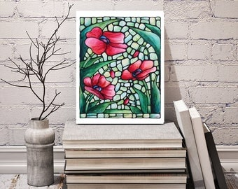 Poppy Art Print - FREE Shipping - Red Abstract Flowers Artwork - Stained-Glass Art - Floral Wall Decor - Field of Poppies - Art Nouveau Art