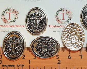 6 pcs per pack 27x21mm One side Oval Hammered Cross stamp Antique Silver Finish Lead Free Pewter