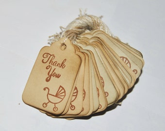35 Thank You miniature xs Coffee stained vintage inspired favor gift tags. primitive. rustic. Baby shower label.