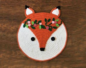 Crochet Fox Rug Pattern - Woodland Fox Rug Pattern - Crochet Nursery Rug - Nursery Mat - Crochet Patterns by Deborah O'Leary