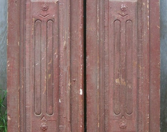 antique pediment windows;pair salvage windows,chippy red wood window,old hand carved window panels,architectural windows,decorative wall art