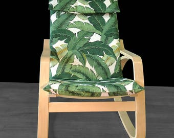 Tropical Leaf IKEA POÄNG Chair Covers, Summer House Ikea Decor, Tommy Bahama Indoor Outdoor Jungle Chair Cover