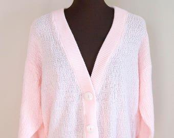 80s Brunny Baby Pink V Neck Cardigan Size Medium Large