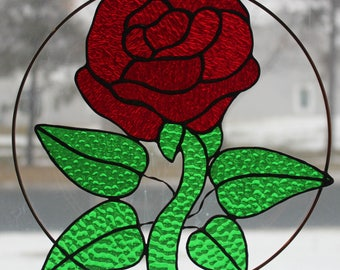 Stained Glass Suncatcher - 10 inch tall oval - Red Rose