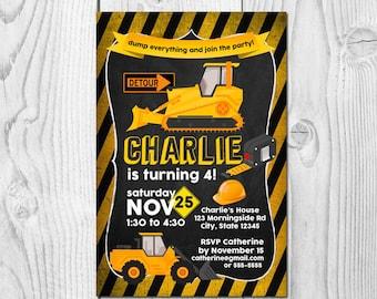 Construction Dump Truck Cement Mixer Trucks Printable Birthday Invitation; Digital Graphic Design